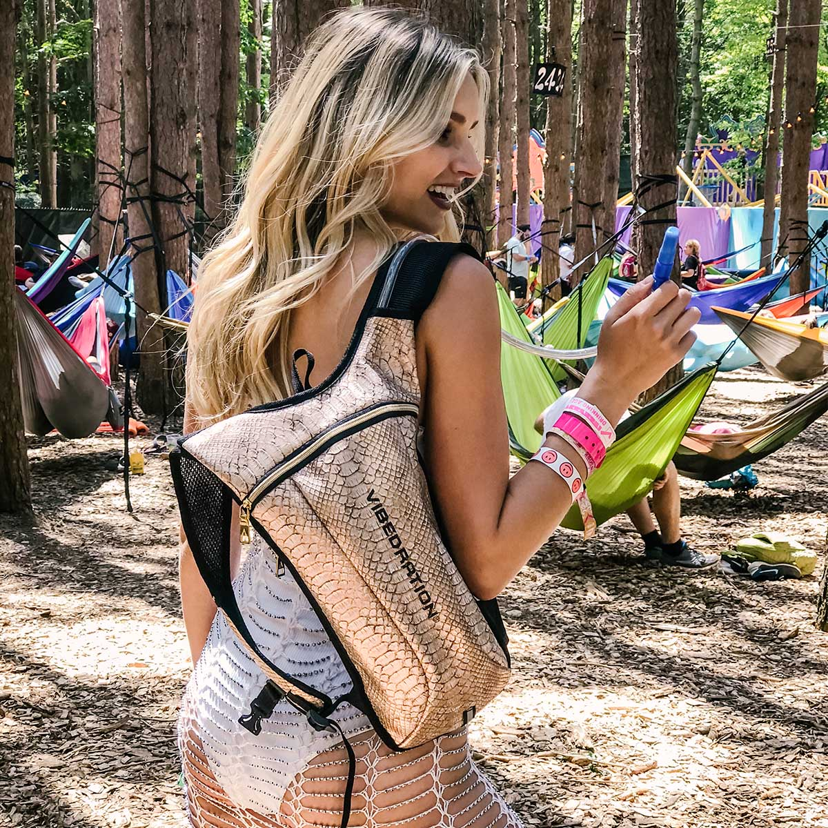 Rose Gold Faux Leather Hydration Pack for Music Festivals