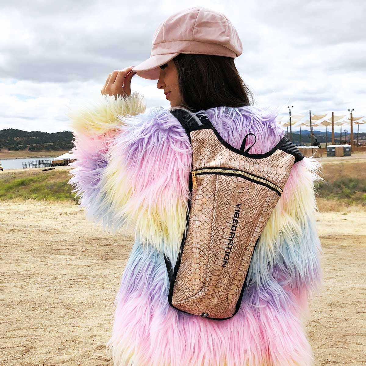 Rose Gold water backpack for festivals