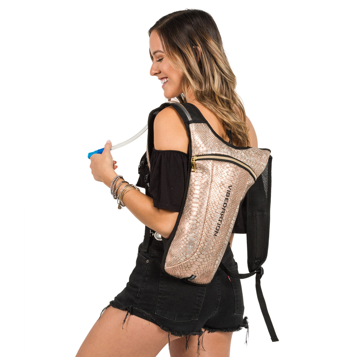 Rose Gold Two Liter Hydration Pack for Music Festivals