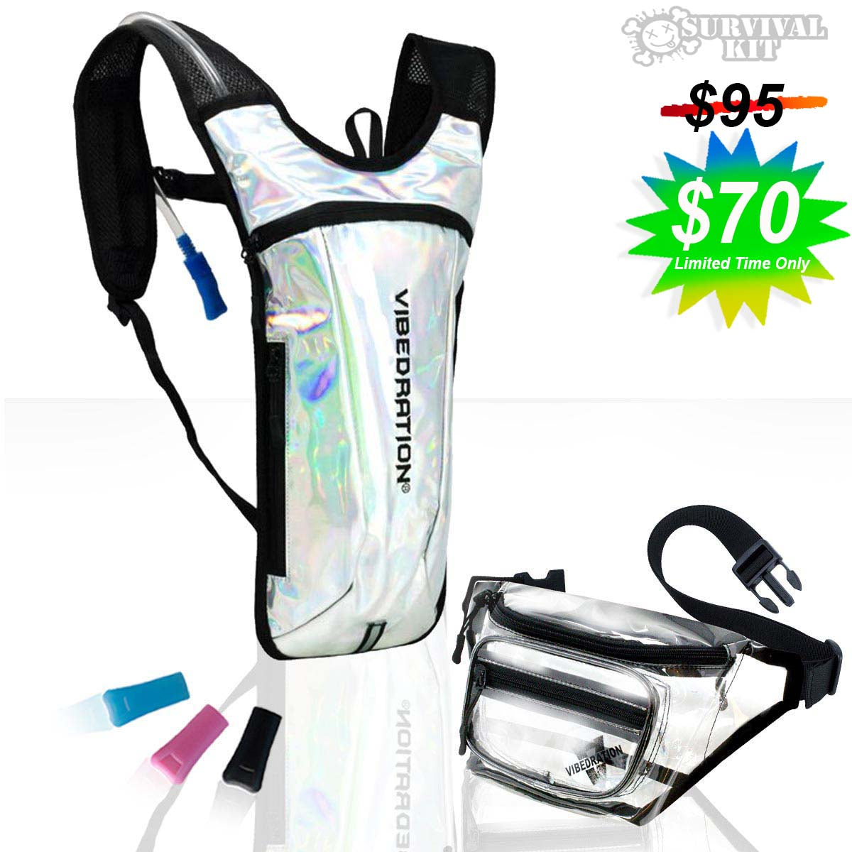 2 Liter Festival Survival Kit with Hydration Pack and Fanny Pack