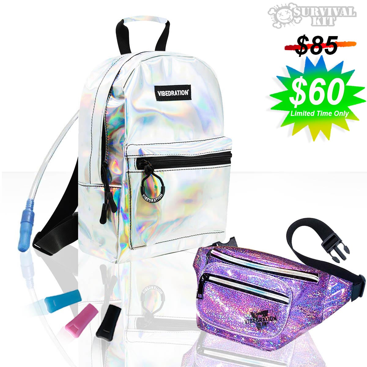 Festival Survival Kit includes Silver Holographic Mini Backpack and Fanny Pack