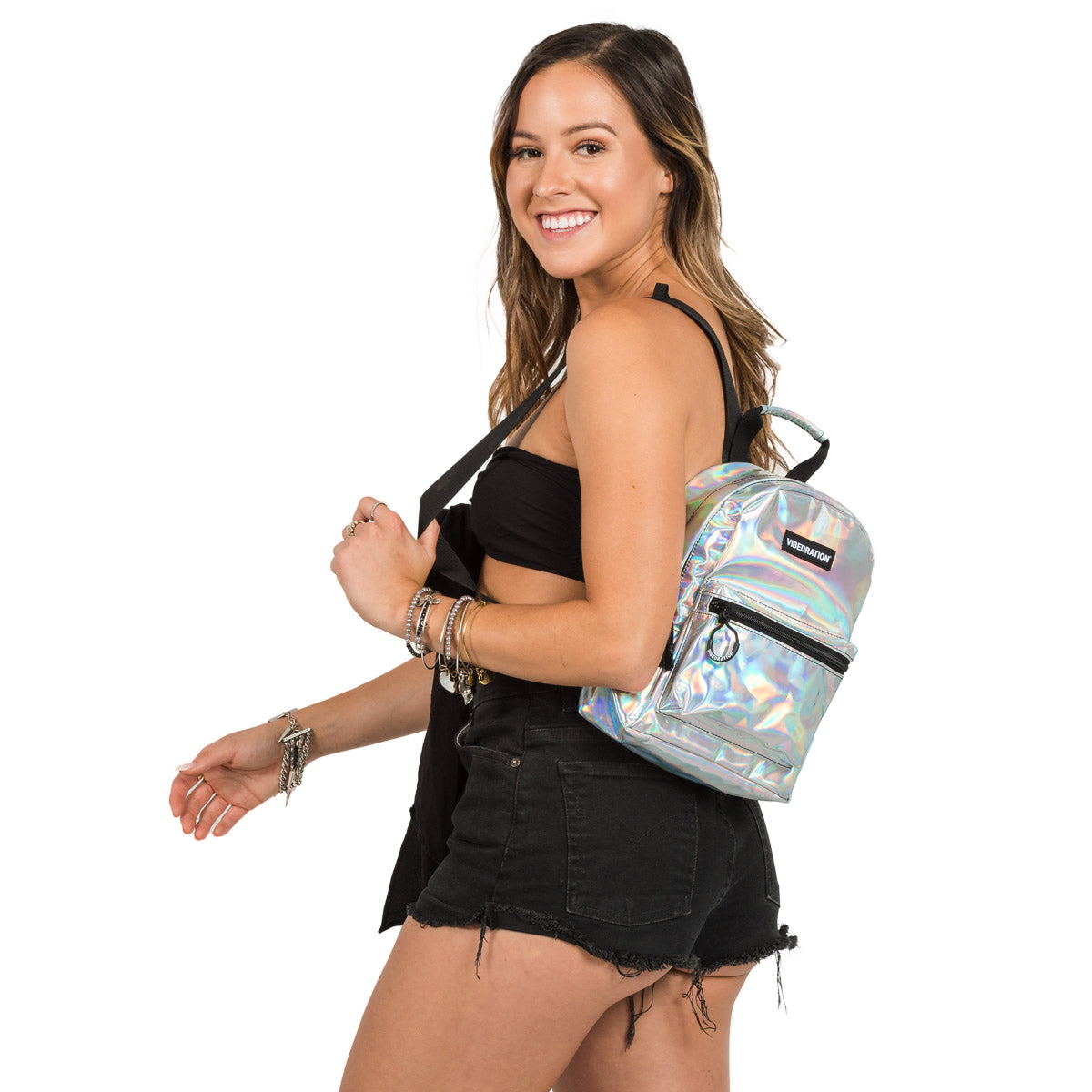 Silver Holographic Mini Backpack for Music Festivals