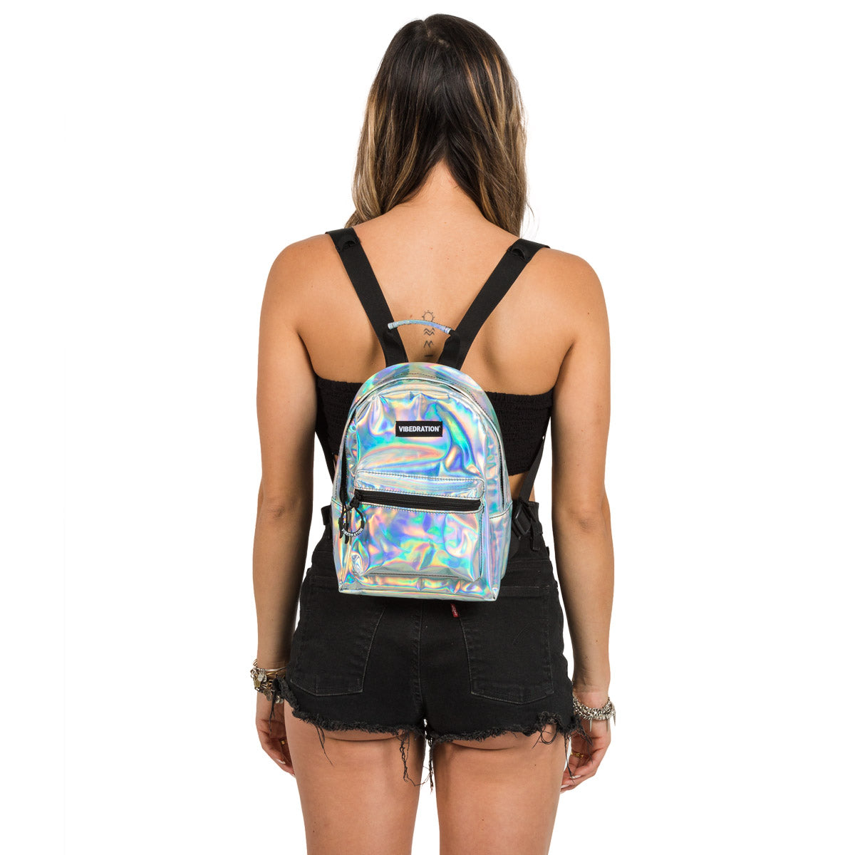Silver Holographic Mini Backpack for Halloween
