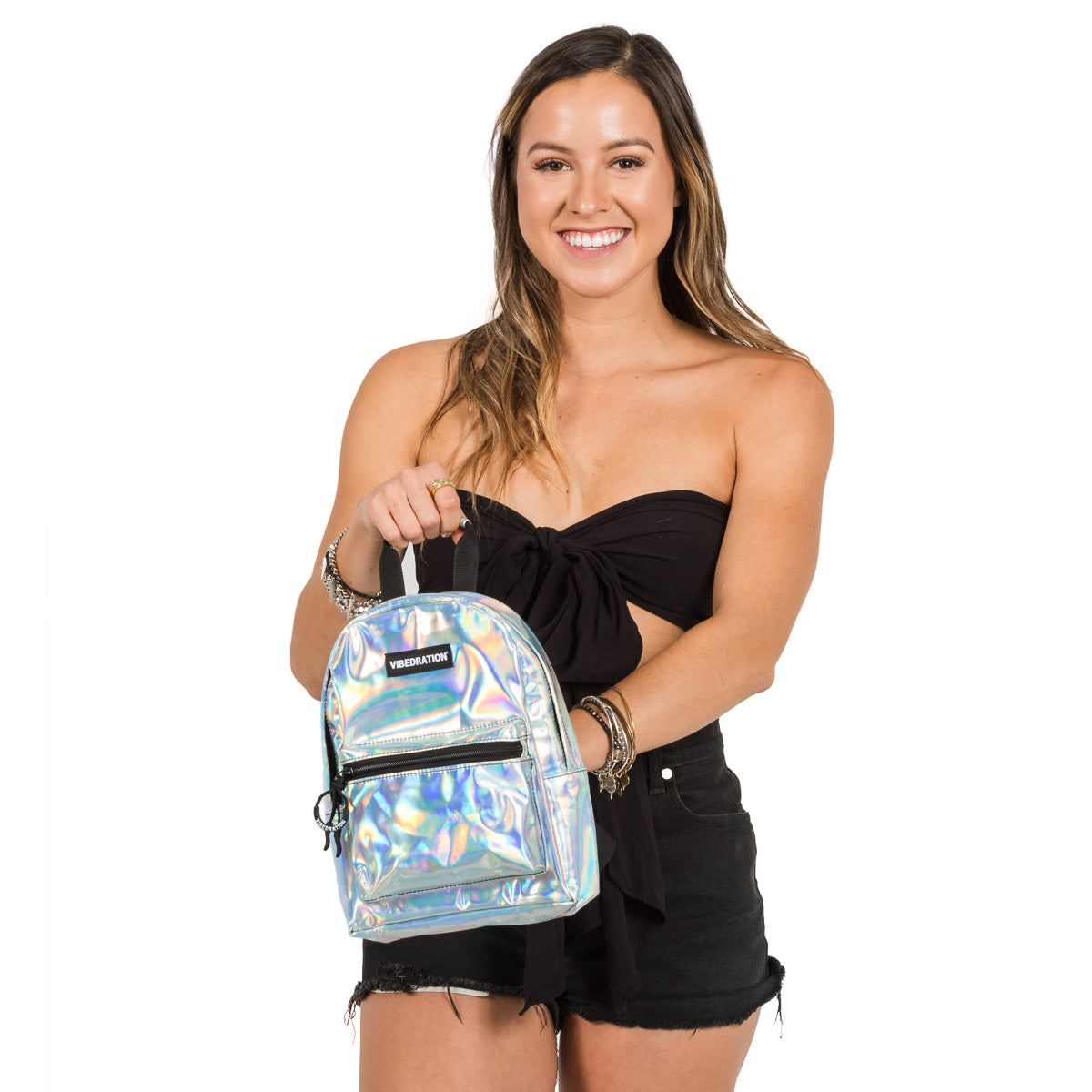 Holographic Silver Mini Backpack for events