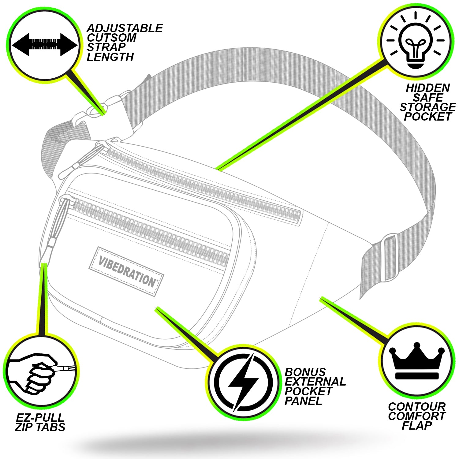 Holographic sling pack for music festivals