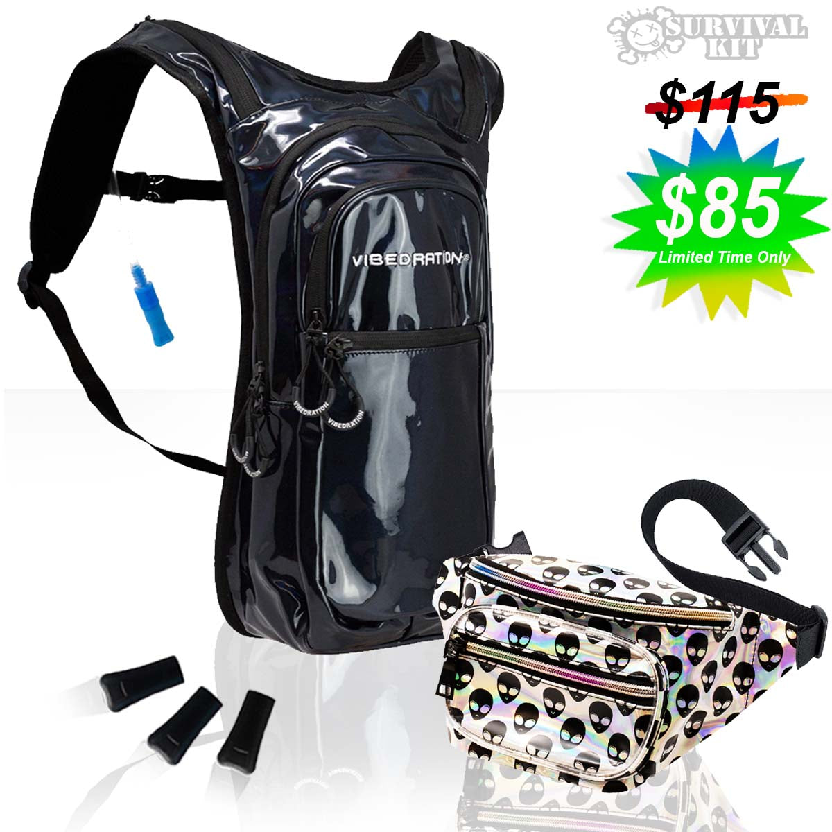Black holographic water backpack and alien sling bag