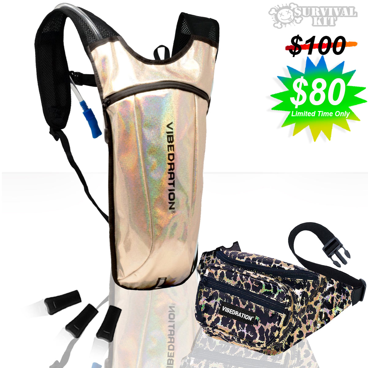 Gold hydration bag and leopard fanny pack combo set