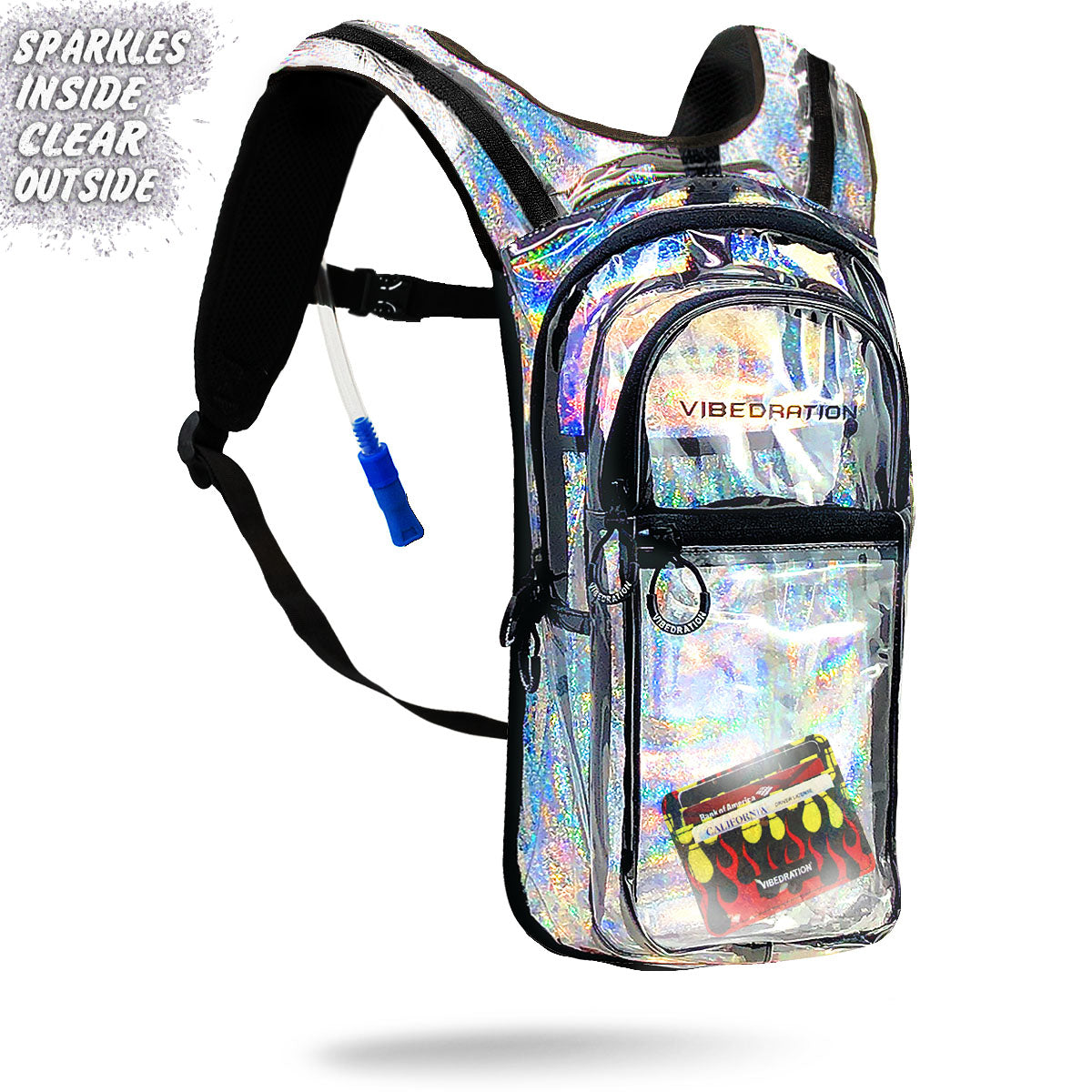 Clear Sliver Sparkles Festival Hydration Pack VIP with Fire Card Holder inside