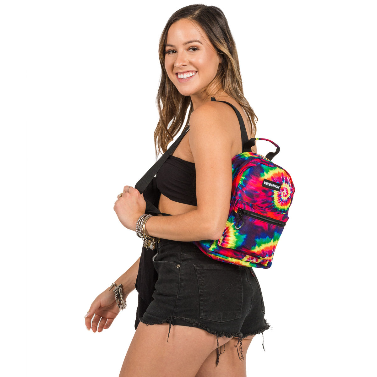 Tie-Dye Printed Mini Backpack for Music Festivals