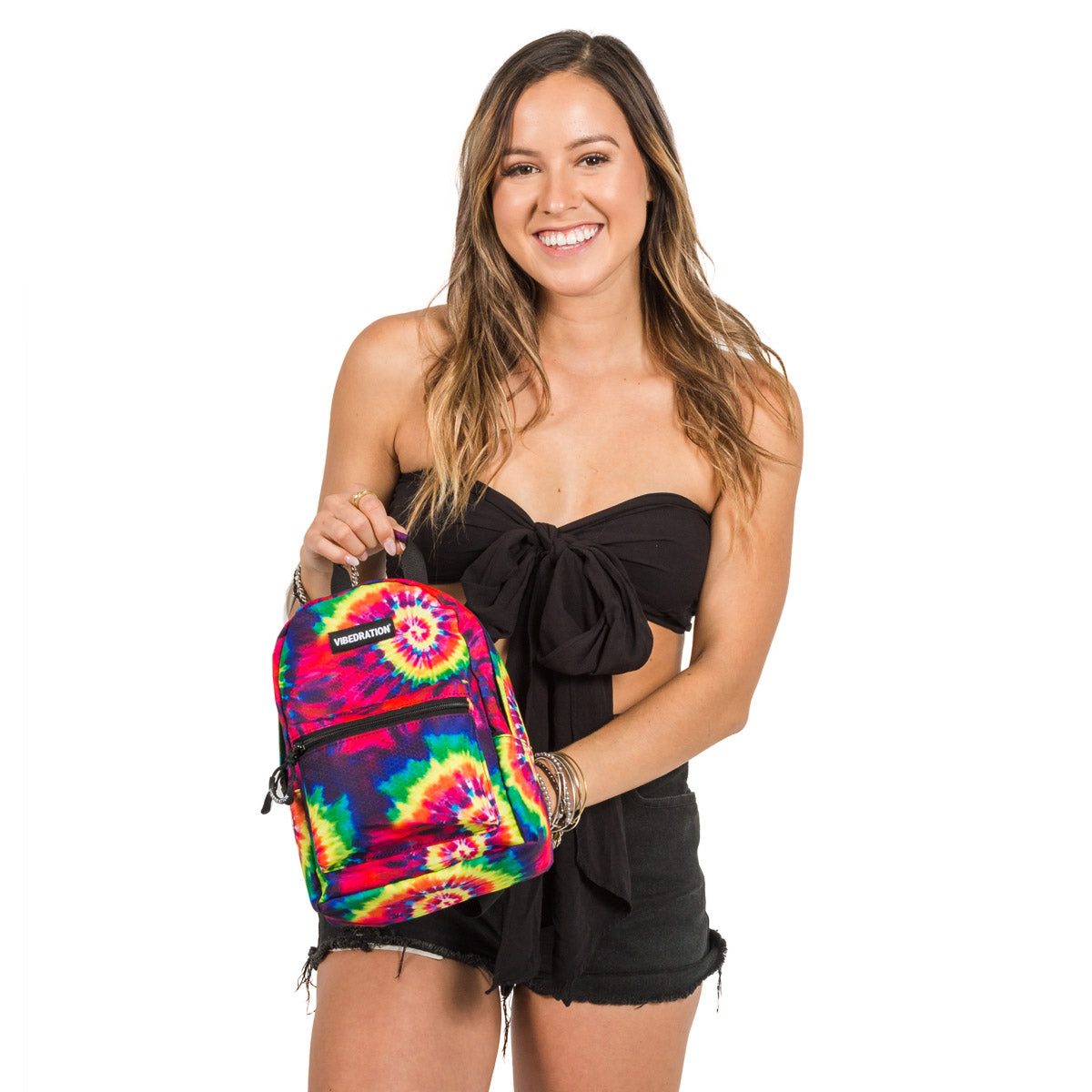 Tie-Dye Printed Mini Backpack with Hydration Bladder