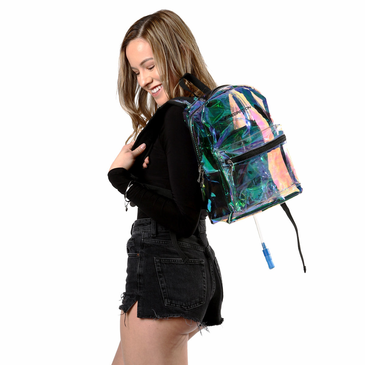 Girl wearing Iridescent Rave Backpack