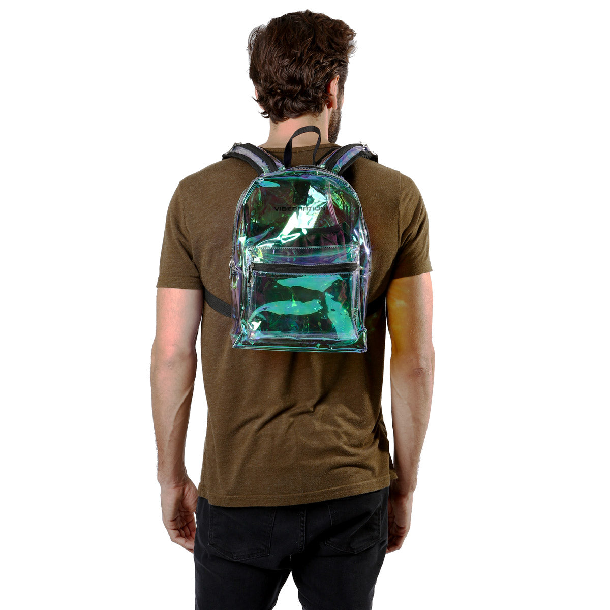 Male wearing Transparent Rave Backpack