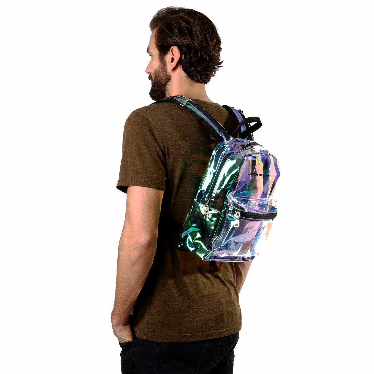 Male wearing Iridescent rave hydration pack