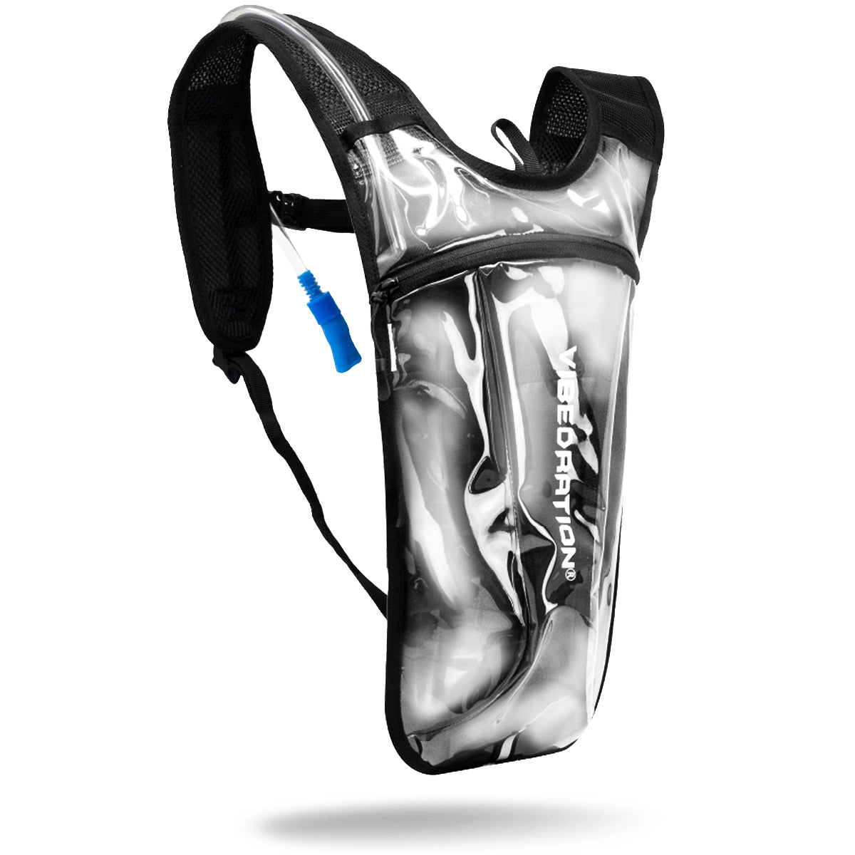 Clear hydration pack with 2 liter water bag