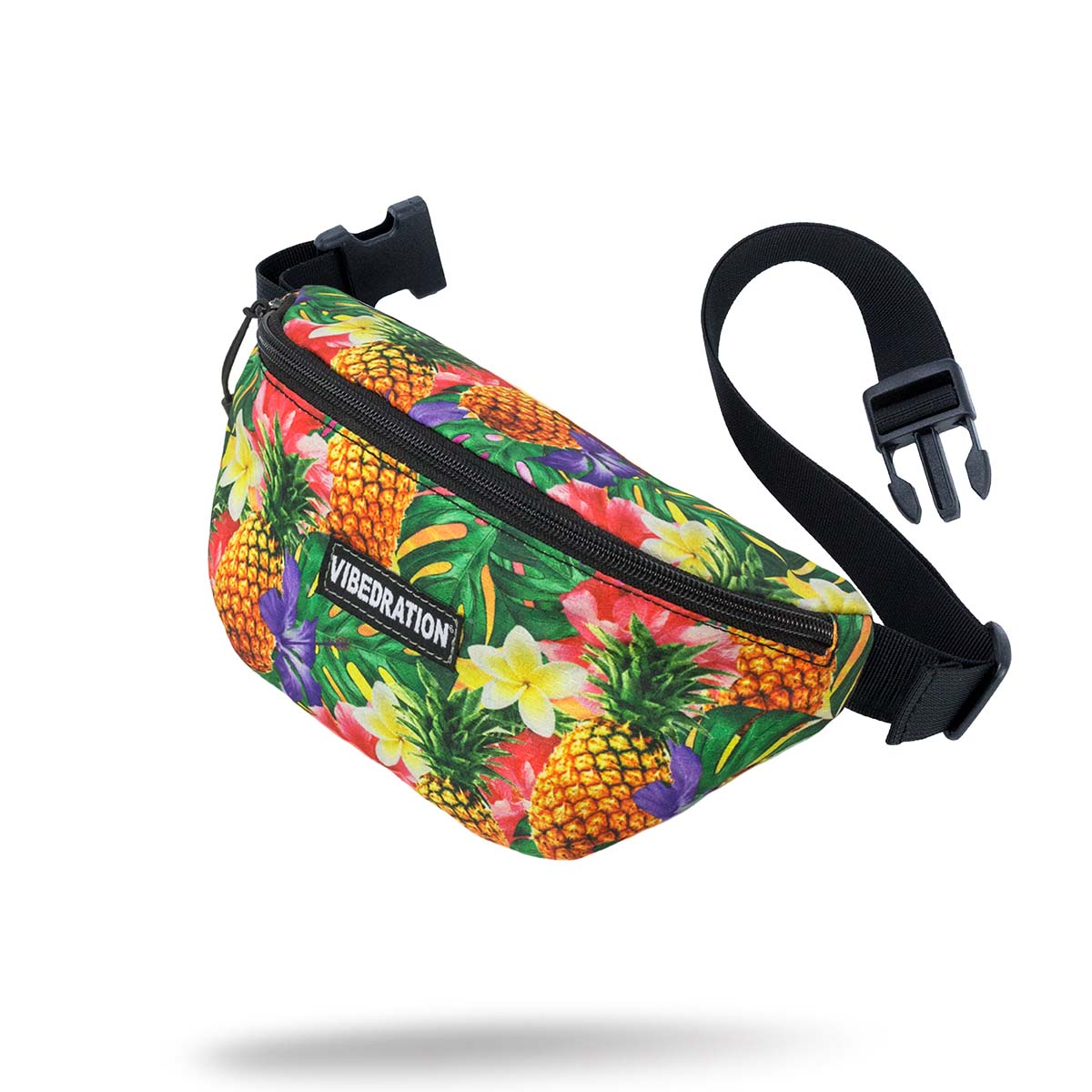 Hawaiian printed fanny pack with pineapples.