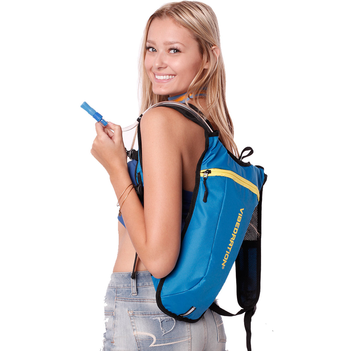 Side view of female wearing baby blue and yellow water pack.