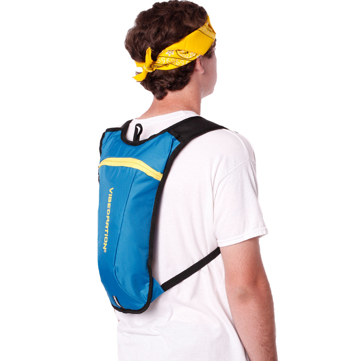 Side view of male wearing baby blue and yellow water pack.