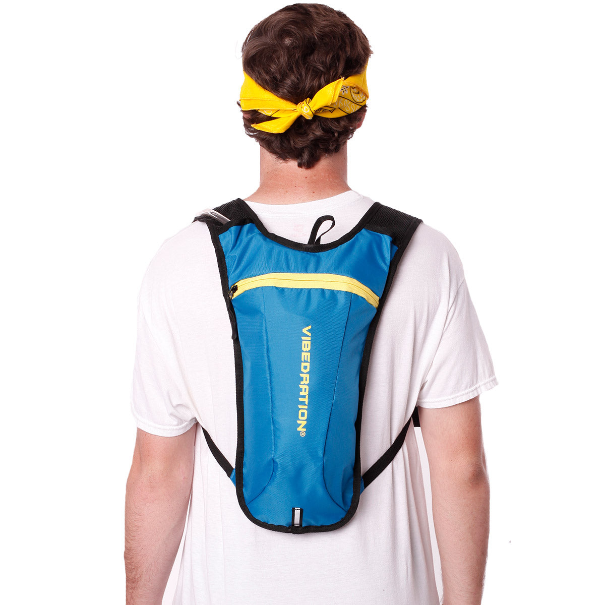 Back view of male wearing baby blue and yellow water pack.