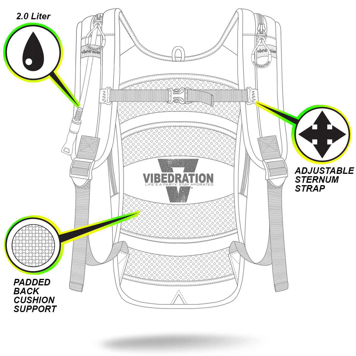 VIP 2.0L Front Description Shot of Festival Hydration Pack