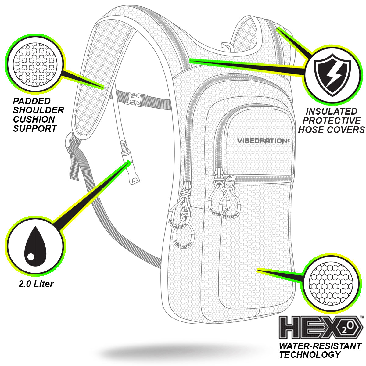 VIP 2L Premium Water Resistant Hydration Backpack