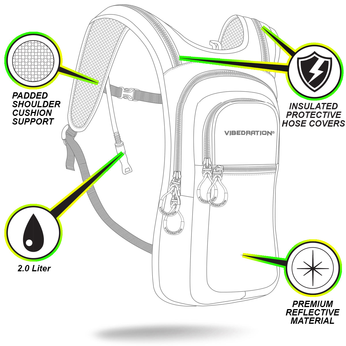 Premium Refective Material VIP 2.0L Hydration Pack Description Shot