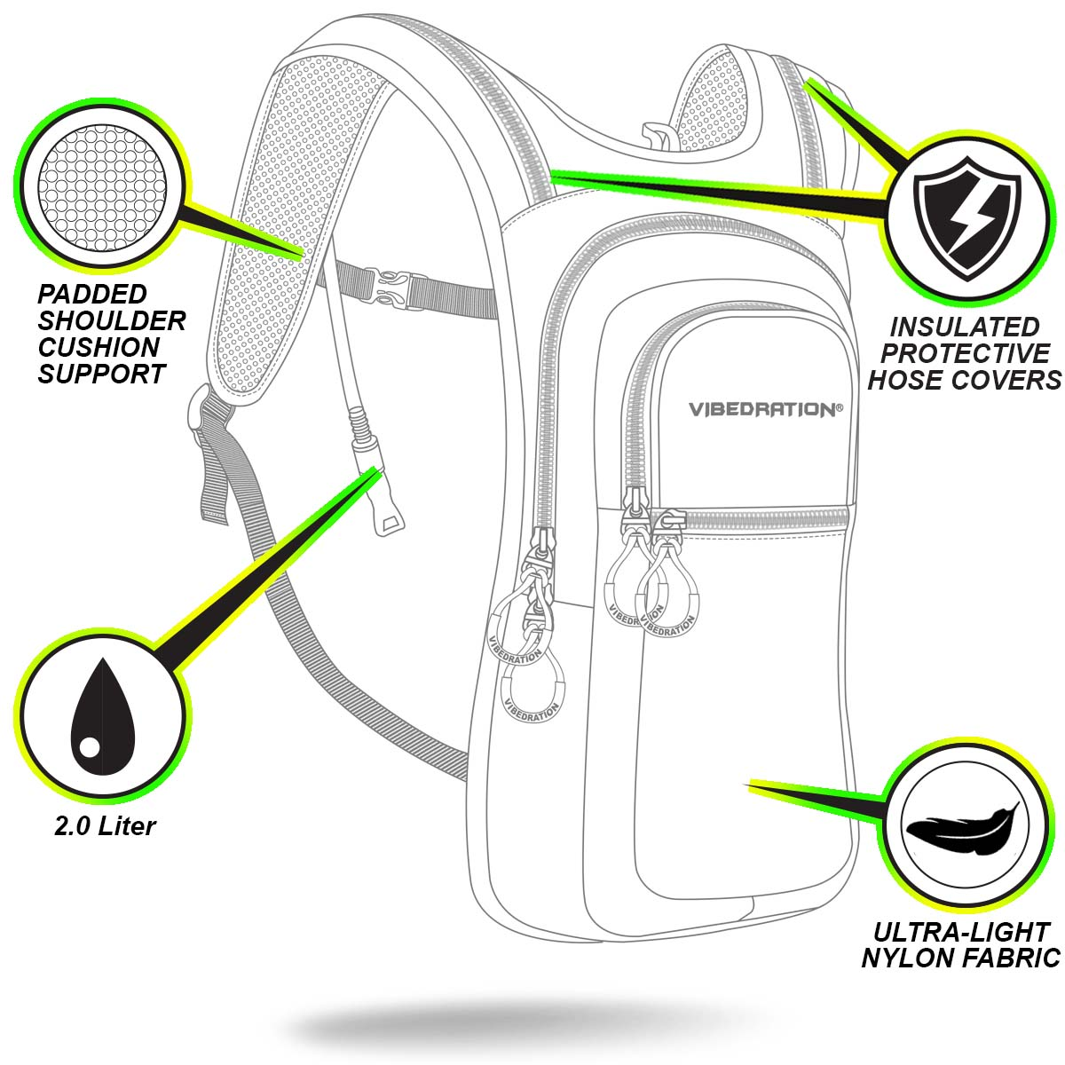 VIP 2.0L Nylon Daypack front side features