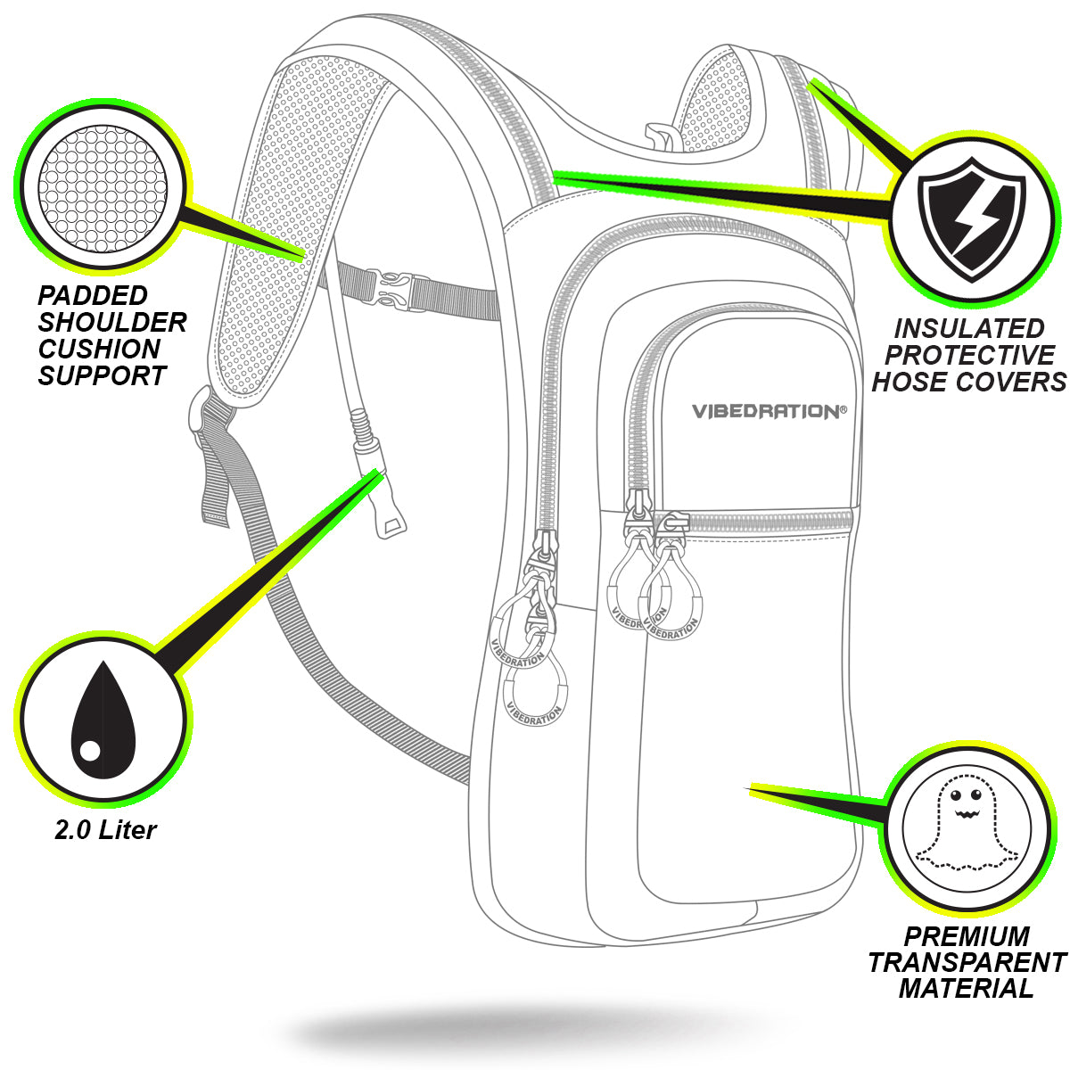 Insulated proctive Hose Cover product description of VIP 2.0L Hydration Pack