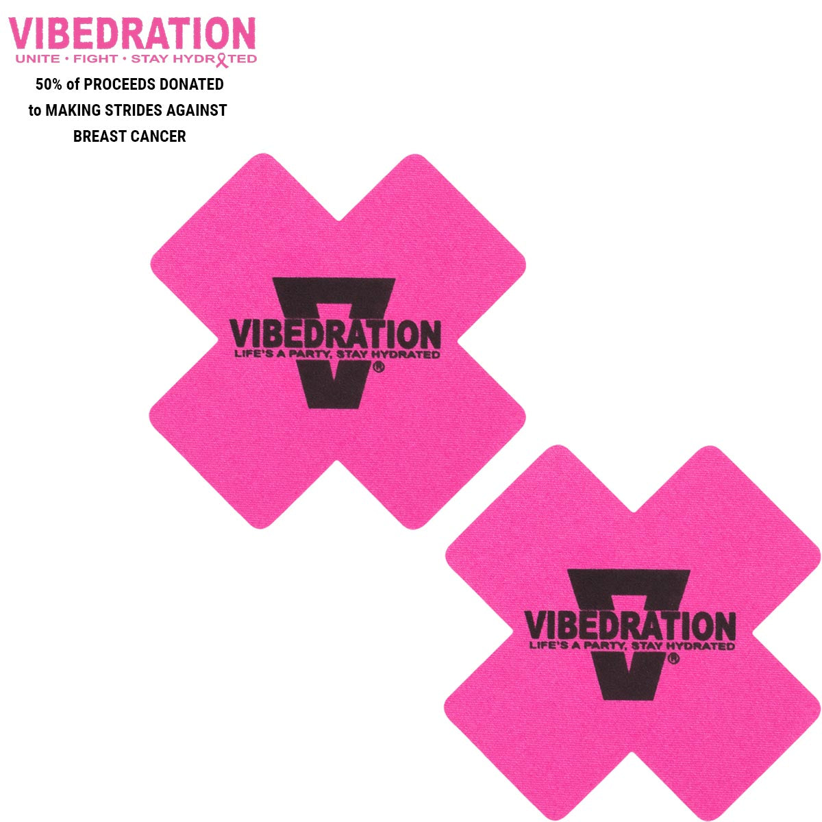 Pair of pink pasties with Vibedration logo