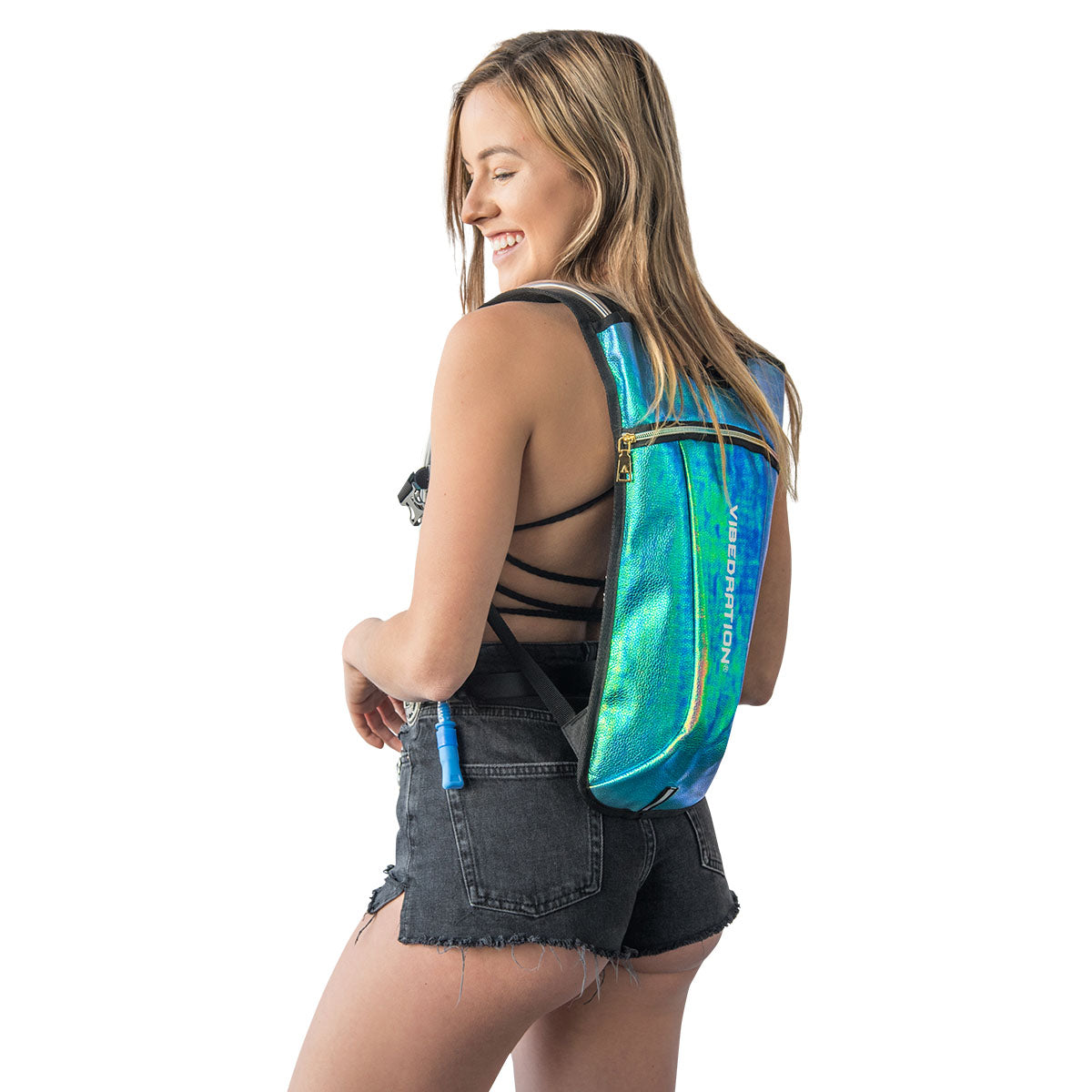 Aqua Faux Leather Rave Water Pack
