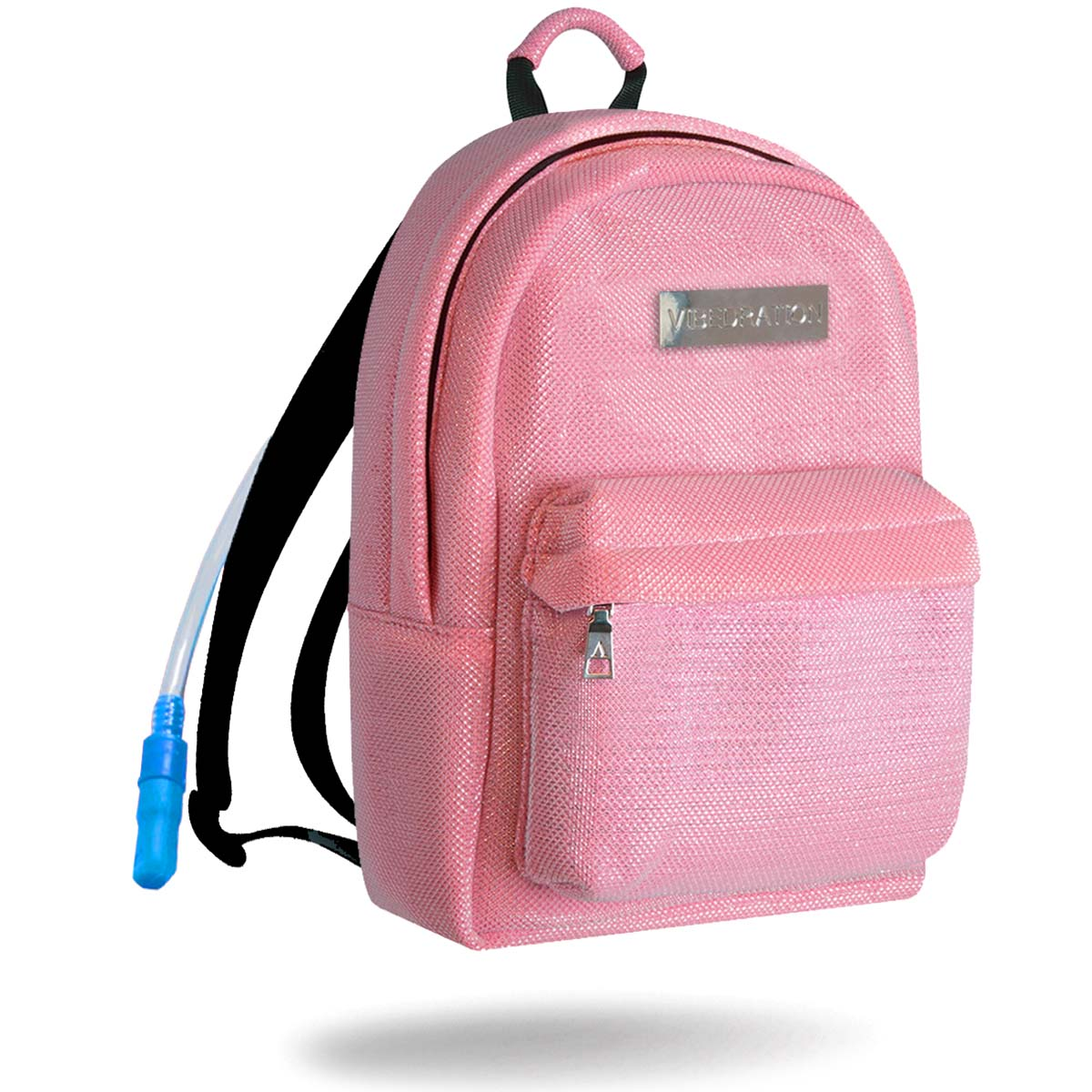Kotton kandi pink water backpack with rainbow zippers and silver logo plate.