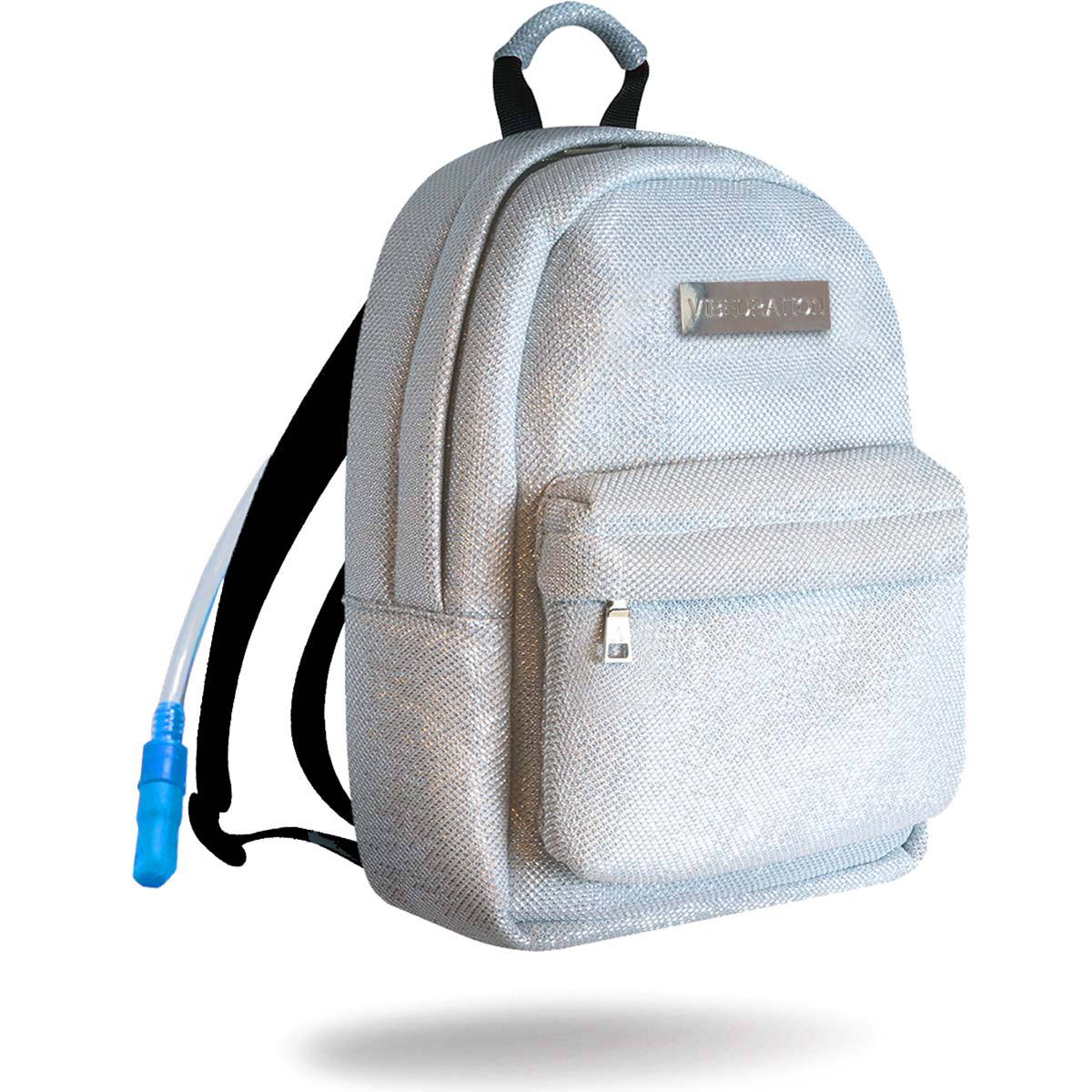 Titanium silver water backpack with rainbow zippers and silver logo plate.