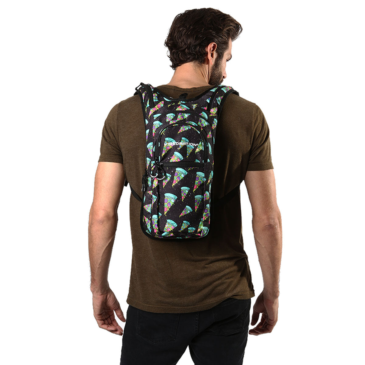 male wearing pizza water pack with 2 liter hydration bag