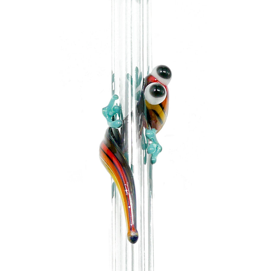 Glass Straw - Rainbow Gecko On Clear Straight