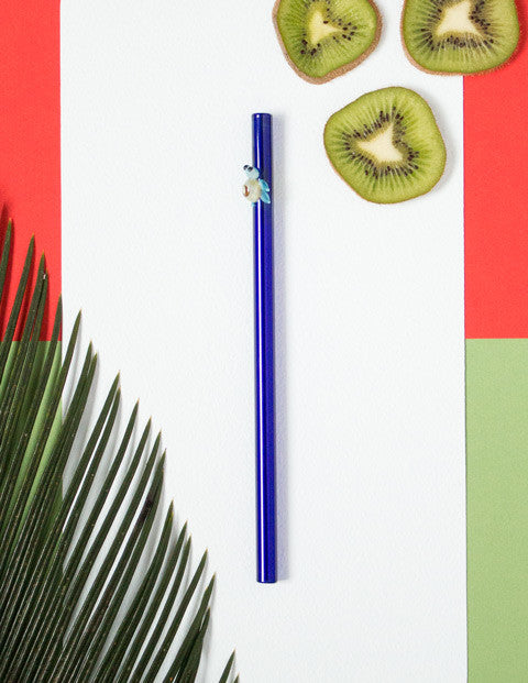 Glass Straws - Sky Blue Turtle On Blue Straight Straw