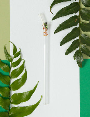 Glass Straws - Tree Frog On Clear Bent Glass Straw