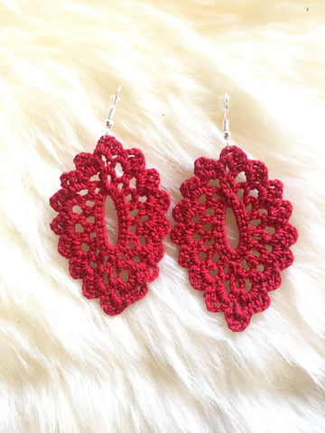 Crochet Oval Earrings: Red
