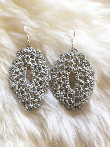 Crochet Oval Earrings: Silver