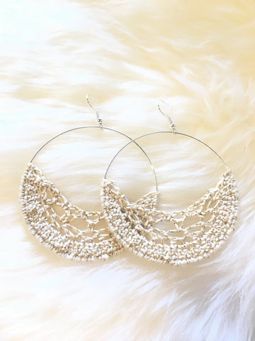 Crochet Hoop Earrings: Gold