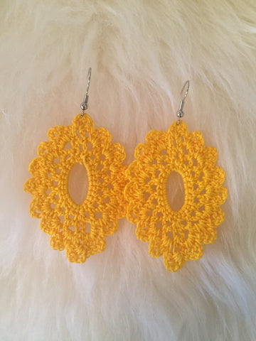 Crochet Oval Earrings: Yellow