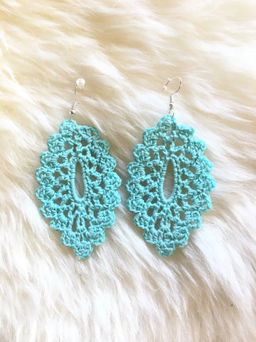 Crochet Oval Earrings: Turquoise