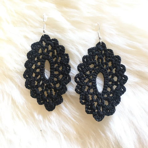 Crochet Oval Earrings: Black