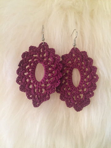 Crochet Oval Earrings: Plum