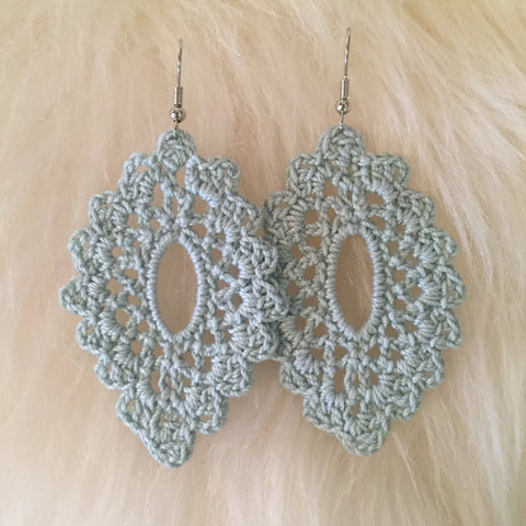 Crochet Oval Earrings: Blue Sage