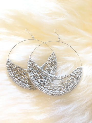 Crochet Hoop Earrings: Silver