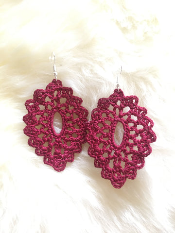 Crochet Oval Earrings: Wine