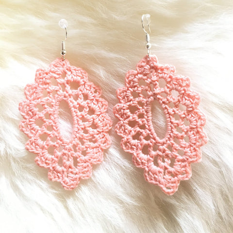 Crochet Oval Earrings: Blush