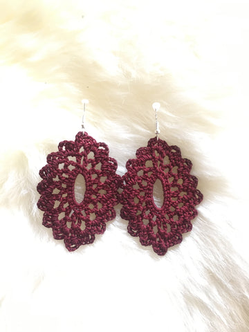Crochet Oval Earrings: Maroon