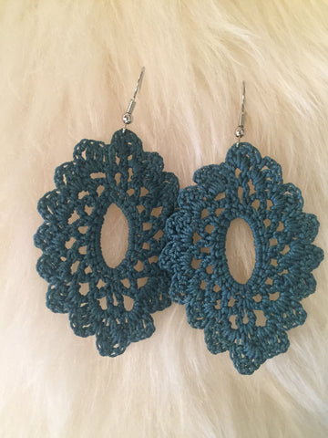 Crochet Oval Earrings: Teal