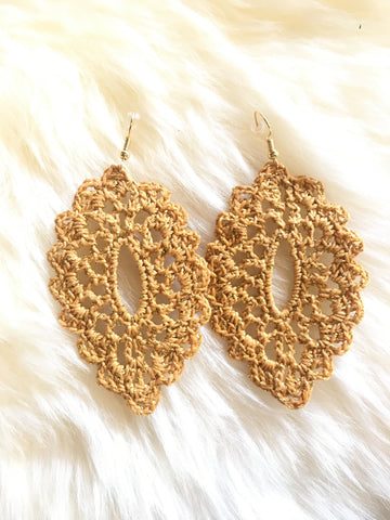 Crochet Oval Earrings: Bronze