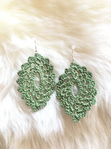 Crochet Oval Earrings: Olive Green